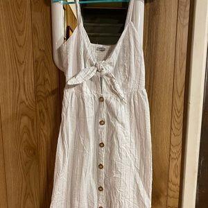 White Striped Button Up Cutout Midi Tank Dress